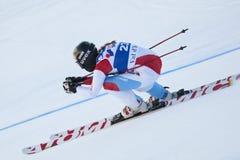 FRA: För Val D'Isere för alpin skidåkning DH trg2 kvinnor Arkivfoton