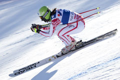 FRA: För Val D'Isere för alpin skidåkning DH trg2 kvinnor Arkivfoto