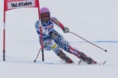 FRA: För Val D'Isere för alpin skidåkning DH trg1 kvinnor Arkivfoto