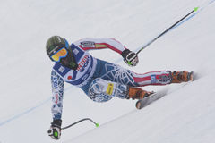 FRA: För Val D'Isere för alpin skidåkning DH trg1 kvinnor Arkivfoton