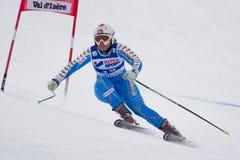 FRA: För Val D'Isere för alpin skidåkning DH trg1 kvinnor Royaltyfria Bilder
