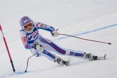 FRA: För Val D'Isere för alpin skidåkning DH trg1 kvinnor Arkivbilder