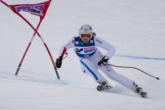 FRA: För Val D'Isere för alpin skidåkning DH trg1 kvinnor Fotografering för Bildbyråer