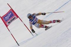 FRA: För Val D'Isere för alpin skidåkning DH trg1 kvinnor Arkivbild