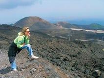 Fra i crateri di Etna fotografia stock