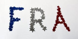 FRA mit roten weißen und blauen französischen Sternen Lizenzfreie Stockfotografie