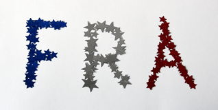 FRA with red white and blue french stars. Royalty Free Stock Photography