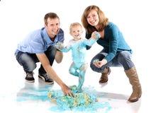 Fracas de gâteau de famille Photo libre de droits