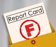 Fracaso de la degradación de las prestaciones del boletín de notas de la cuenta del suspenso de F Imagen de archivo libre de regalías