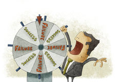Fracaso del éxito en la rueda de la fortuna stock de ilustración
