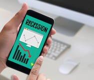 Fracaso del riesgo financiero de la recesión abajo, gráfico de negocio con arro Fotografía de archivo libre de regalías