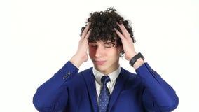 Fracaso, hombre de negocios joven Reacting del trastorno en pérdida almacen de video