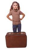 Fracaso loco descontentado de la niña del niño malvado para viajar s foto de archivo libre de regalías