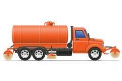 Fracht-LKW, der die Straßenvektorillustration säubert und wässert Lizenzfreie Stockfotos