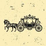 fracht sylwetka z koniem Wektorowa ilustracja brougham w baroku stylu Rocznika fracht odizolowywający na ciemnym backgrou Obraz Royalty Free