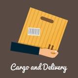 Fracht und Lieferung, Hände, die cardbox halten stock abbildung