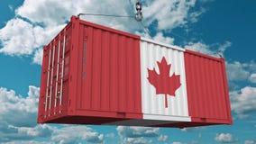 Frachtbehälter mit Flagge von Kanada Kanadischer Import oder Export bezogen sich Begriffs-Animation 3D stock footage