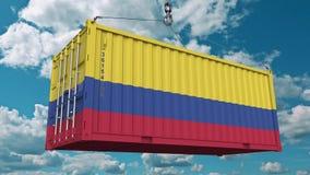 Frachtbehälter mit Flagge von Kolumbien Kolumbianischer Import oder Export bezogen sich Begriffs-Animation 3D stock footage