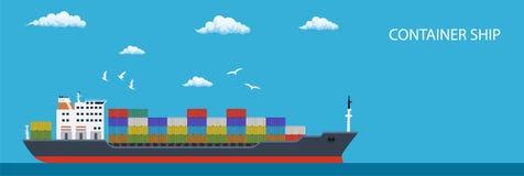 Frachtcontainerschiff-Transportbehälter Stockfotografie