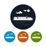 Frachtcontainerschiffikone, Vektorillustration Stockbild