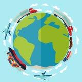 Frachtfrachttransporthintergrund im flachen Design Stockfotografie