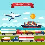 Frachtfrachttransporthintergrund im flachen Design Lizenzfreie Stockfotos