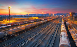 Frachtgüterzugbahnhof Lizenzfreie Stockfotos