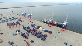 Frachthafen Bronka, Vogelperspektive Stockbilder