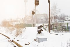 frachtowa kolejowa rosjanina pociągu zima Kolejowy światła ruchu obrazy royalty free