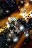 Frachtraumschiff auf dem sternartigen Gebiet Stockfotos