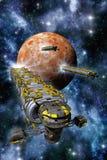 Frachtraumschiffe mit Planeten und Nebelfleck Stockbild