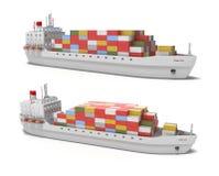 Frachtschiff auf weißem Hintergrund Lizenzfreies Stockbild