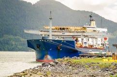Frachtschiff im Hafen Stockbilder