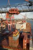 Frachtschiff-Ladenbehälter in Rotterdam Stockbilder