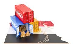 Frachtschiff und Lieferung von Ägypten-Konzept, Wiedergabe 3D Stockfoto