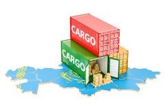 Frachtschiff und Lieferung von Kasachstan-Konzept, renderin 3D Lizenzfreie Stockfotos