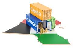 Frachtschiff und Lieferung von Kuwait-Konzept, Wiedergabe 3D Lizenzfreie Stockbilder