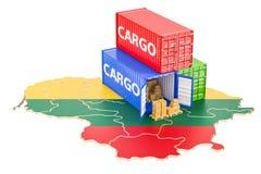 Frachtschiff und Lieferung von Litauen-Konzept, Wiedergabe 3D Stockfoto