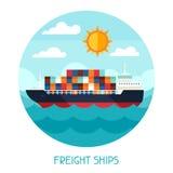 Frachtschiffs-Transporthintergrund im flachen Design Lizenzfreie Stockfotografie
