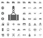 Frachtwarenikone Gesetzte Ikonen des Transportes und der Logistik Gesetzte Ikonen des Transportes Stockbilder