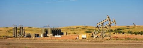 Fracking在北达科他 库存照片
