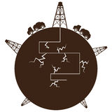 Fracking过程地球 免版税库存图片