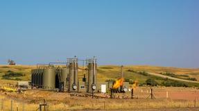 Fracking em North Dakota fotos de stock royalty free