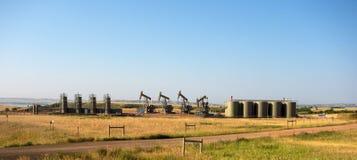 Fracking i North Dakota arkivbild