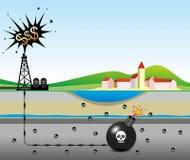 Fracking. Illustration of environmental risks caused by fracking Stock Photo