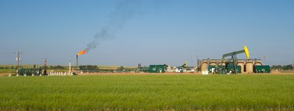 Fracking in north dakota royalty free stock photo