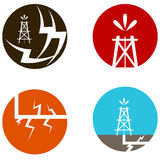 Fracking Oil Icons Stock Photo