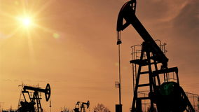 Fracking Oil Well Silhouettes stock footage