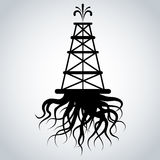 Fracking Rig With Roots Royalty Free Stock Photography