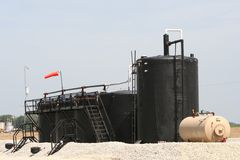 Fracking well oil storage Royalty Free Stock Photo